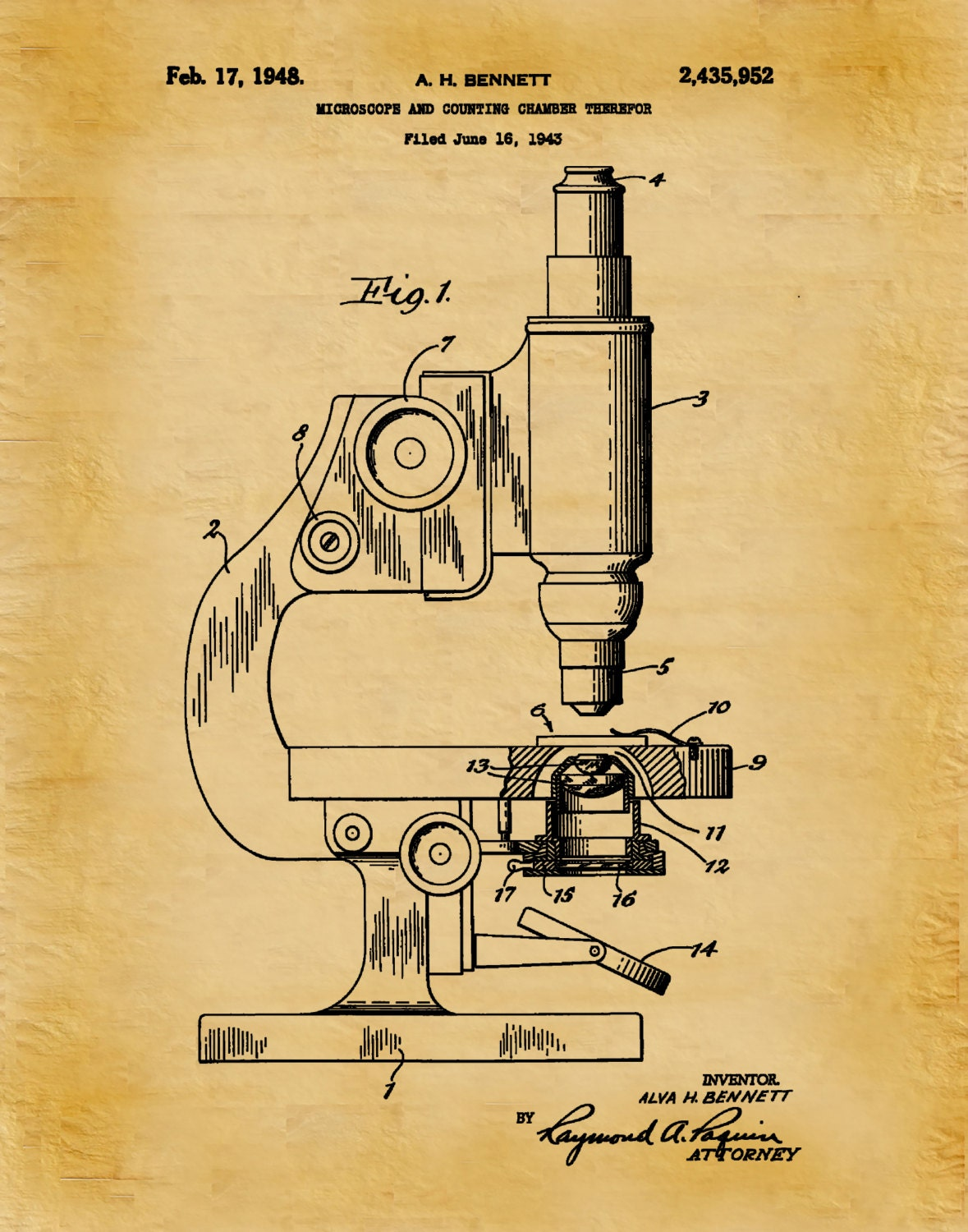 Patent 1948 Microscope And Counting Chamber Art Print - Poster ...