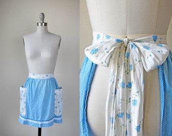 1960s vintage sky blue polka dot floral flower print bow tie double pocket apron skirt