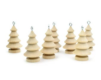 Christmas Ornaments - Paintable Christmas Tree - Handmade Wood Toy - Wooden Ornament  - Christmas Decor