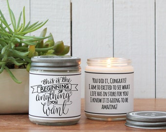 This is the Beginning of Anything You Want Candle Greeting - Inspiration Gift | Congratulations Gift | New Endeavor Gift | Graduation Gift