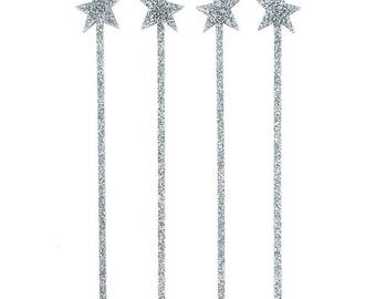Silver Glitter Star Drink Stirrers