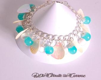 Iridescent shell, blue and white beads bracelet