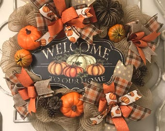 Front door wreath. Fall wreath. Fall wreath for front door. Pumpkin wreath. Fall decor. Autumn wreath. Thanksgiving wreath. Halloween wreath