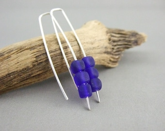 Blue Cube Earrings - Ultramarine Blue Czech Glass and Sterling Silver Dangle Earrings - Deep Blue Straight Cube Earrings