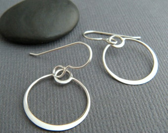small sterling silver drop hoop earrings delicate circle eclipse dangle petite leverback hook simple dainty delicate jewelry gift  5/8""