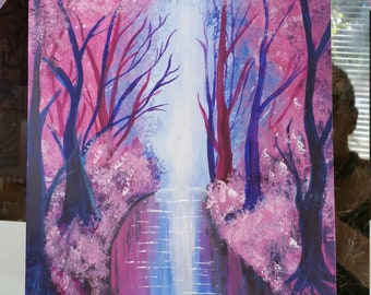 Acrylic Pink Forest 9x12