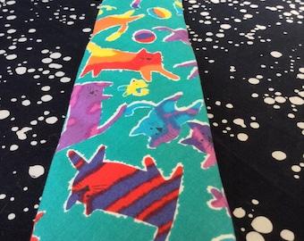 Playful Paradise~Lands End~Vintage Necktie~100% Cotton~Turquoise~Rainbow~Cats