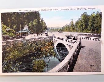 Vintage Postcard Oregon Multnomah Falls Columbia River Highway 1930's