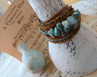 Boho Leather and Turquoise Wrap Bracelet, Multi Strands of Leather and beads in shades of Natural  browns and turquoise gemstone beads