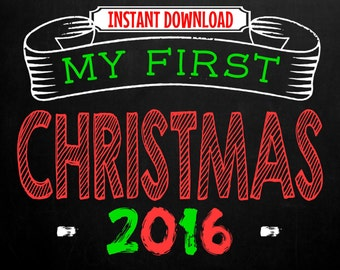 Printable Baby's First Chrismas Chalkboard Photo Prop   Size: 8x10   Instant Download   by MMasonDesigns