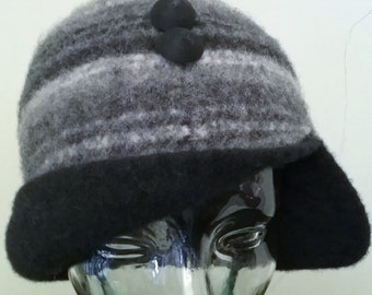 Striped Grey Lambswool Vagabond Cloche with Black revers and decorative buttons