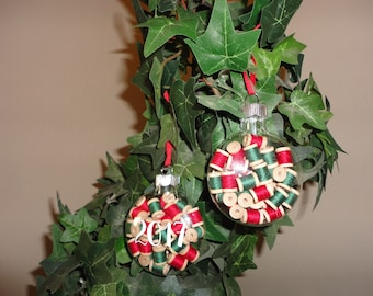 Glass Disc Christmas Ornament with Spools Set of 2 Completed