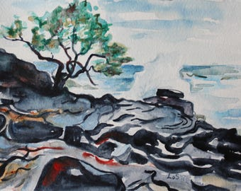 ORIGINAL Hawaii Big Island Seashore colorful watercolor painting 5x7 seascape