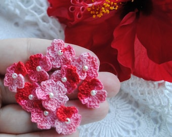 Crochet flower appliques, mini crochet flowers, red flowers, scrapbooking flowers, crochet flowers for cards and scrapbooking, appliques
