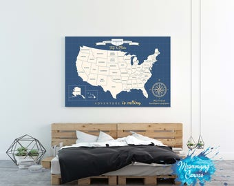 USA Travel Map, Push Pin USA Map, Usa Travels Map, Map Art, USA Map Canvas, Push Pin Map, Place Canvas Christmas gift, Wedding Gift, vows