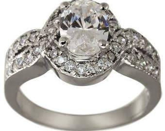 Diamond Engagement Ring 1 Carat Oval Center 14K White Gold Split Shank Engagement Ring