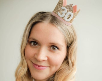 30 Flirty Thirty Birthday    30th Birthday For Her    30th Birthday Hat    Adult 30th Birthday Party Hat    Gold Blush Rose Gold