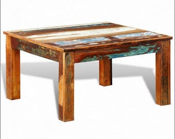 Reclaimed,upcycled,recycled teak wood hand made coffee table ,distressed wood.