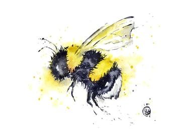 ORIGINAL Bee watercolour by Lisa Whitehouse, bumble bee, garden art, Original artwork. cottage art, gift for her, office decor