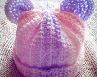 Baby teddy ears hat 6+ months