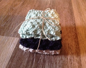 Knitted Cotton Washcloths, set of 3