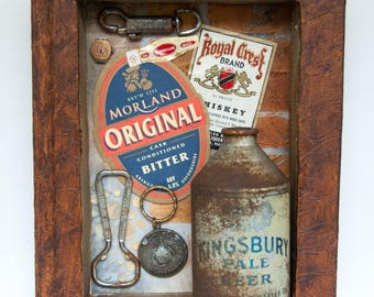 Assemblage Book Art - Mixed Media - Recycled Art - Beer