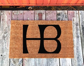 2 Sizes - HB - Huntington Beach - Surf City USA Welcome Mat - Coir Door Mat - Doormat - 18 x 30 and 24 x 36 - Housewarming Gift