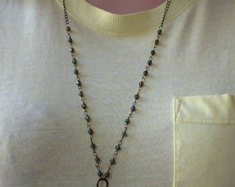 Brass Rosary chain necklace, long wire wrap necklace, soft turquoise and czech beaded layering necklace