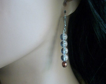 Natural Stone Earrings featuring Clear Quartz and Pearl NSE1024A - Free Shipping in the USA