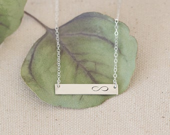 Infinity Silver Bar Necklace, Infinity Love Necklace, Infinity Symbol, Love Jewelry, Sterling Silver Bar Necklace