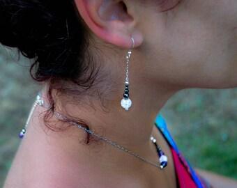 Boucles d'oreilles en Cristal de roche et hématite - argent 925