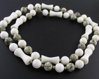 Stone Bead Necklace, Quartz Bead Necklace, Boho Necklace, Earth Tone Necklace, Natural Stone Necklace, Brown Necklace, White Necklace