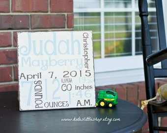 Hand Painted Wood Sign. Baby Birth Announcement Sign. Baby Boy. Baby Girl. Birth Stats. Baby Gift. New Baby. Nursery Decor. Home Decor.