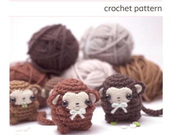 crochet monkey pattern - amigurumi animal pattern