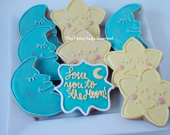 Moon and stars cookies 1 dozen