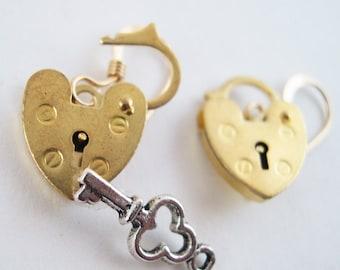 Mini Gold Opening Padlock Earrings - Unlock My Heart