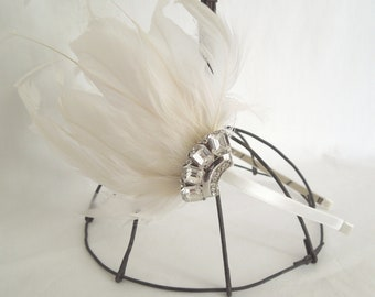 Ivory Feather Headpiece with Vintage Rhinestone Brooch Accent