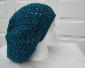teal lacy summer slouchy beanie, summer hat, lightweight hat, green blue tam, crochet and knit