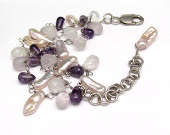 Vintage Bracelet, Pearl Amethyst Gemstone Bracelet, Vintage Handmade Artisan Bracelet, Multi Strand Wrap Bracelet, Sterling Silver Bracelet,