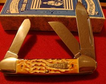 Case Classic Bone Stag Gunboat Canoe 6394