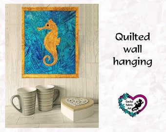 Seahorse wall hanging, seahorse picture, quilted wall hanging, home decor, seahorse quilted panel, wall hanging, applique, quilted picture