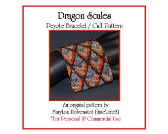 Peyote Bracelet Pattern ... DRAGON SCALES ... Fiery . Renaissance . Wide . Cuff . Jewelry . Medieval . Fire . Mythical . Fantasy . 3 for 2