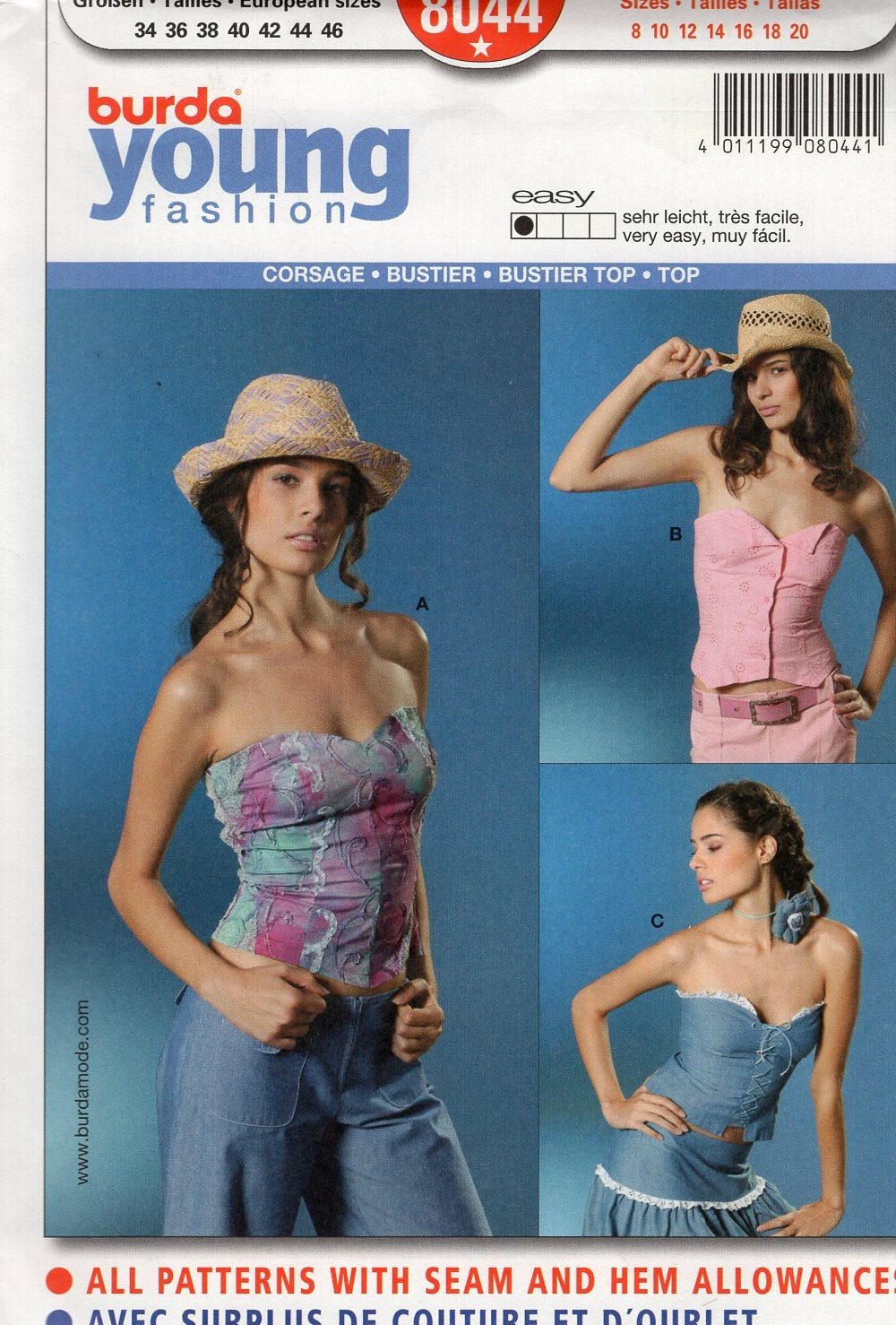 Free us ship burda 8044 young fashion sexy corset bustier top free us ship burda 8044 young fashion sexy corset bustier top sweetheart neckline strapless sewing pattern plus size 8 10 12 14 16 18 20 jeuxipadfo Gallery