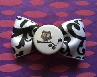 black and white owl filigree hair bow