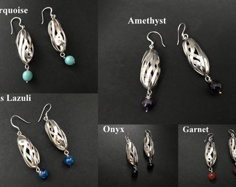 Handmade Spiral Hollow Tube Design Amethyst / Garnet/ Lapis Lazuli/ Onyx/ Turquoise Earrings, 925 Sterling Silver Jewelry, Style, Fashion