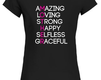 Mothers Day Ladies Fit T Shirt Fan Gift Idea Amazing Loving Strong Happy Selfless Gra
