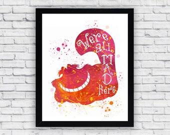 Cheshire Cat Watercolor print, Alice in Wonderland Printable Wall Art, Alice in Wonderland wall decor, Alice home decor poster