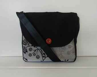 Messenger: Black and Grey Fabric