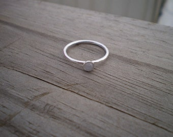 Blue Chalcedony Stacking Ring, Sterling Silver, Size 8