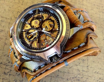 Men's skeleton watch, Steampunk Leather Watch Cuff, Leather Wrist Watch, Leather Cuff, Bracelet Watch, Anniversary gift, Gift for dad
